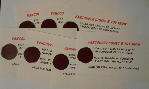 Vancouver Comic Show Gift Cards